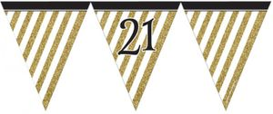 Wimpelkette 21. Geburtstag Black and Gold