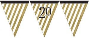 Wimpelkette 20. Geburtstag Black and Gold
