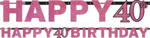 Geburtstags Girlande Glitzerndes Pink und Schwarz 40. Geburtstag