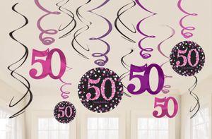 12 hängende Girlanden Glitzerndes Pink und Schwarz 50. Geburtstag
