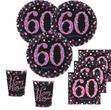 12 hängende Girlanden Glitzerndes Pink und Schwarz 60. Geburtstag