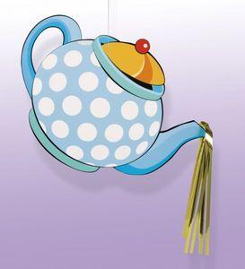 hängendes Pappschild Teekanne verrückter Hutmacher
