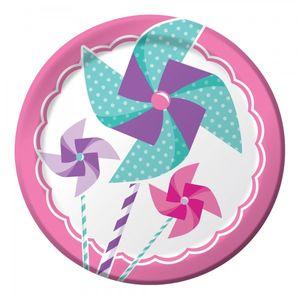 8 kleine Teller 1. Geburtstag Windrad Pink – Bild 2