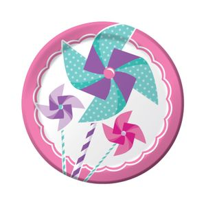 8 kleine Teller 1. Geburtstag Windrad Pink – Bild 1