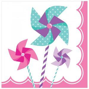 16 kleine Servietten Windrad Pink – Bild 1