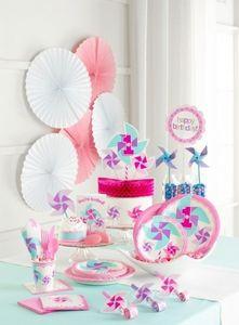 8 Party Tüten 1. Geburtstag Windrad Pink – Bild 3