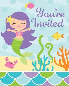 8 Einladungskarten kleine Meerjungfrau