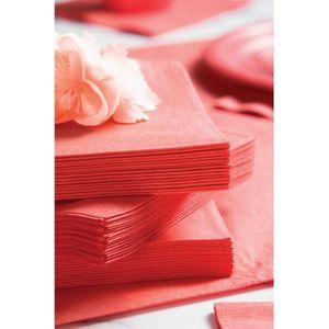 18 quadratische Papp Teller Korallen Rot