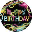 8 Geburtstags Papp Teller Knicklicht Neon Raver Party