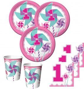 [Paket] 48 Teile Erster Geburtstag Windrad Pink Party Deko Set 16 Personen