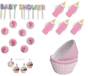 98 Teile Baby Shower Muffin Dekorations Backset Rosa für bis zu 75 Cupcakes