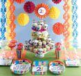 8 Geburtstags Papp Teller bunte Punkte und Streifen