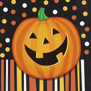 16 Halloween Servietten lachender Kürbis