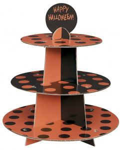 Muffin Etagere Schwarz Orange Punkte