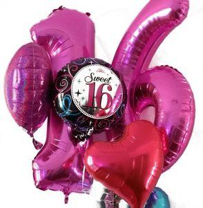 XXL Folien Ballon in Form der Zahl 4 Pink 86 cm