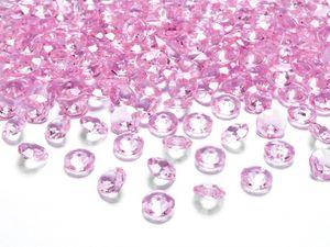 30g kleine Deko Plastik Diamanten rosa - 12 mm Durchmesser - etwa 100 Stk.
