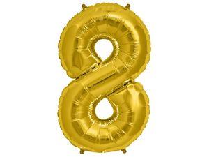 XXL Folien Ballon in Form der Zahl 8 Gold 86 cm