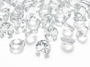 10 Deko Plastik Diamanten klar - 20 mm Durchmesser