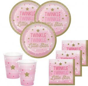 48 Teile Blinke Kleiner Stern Rosa Party Deko Set 16 Personen für die Baby Shower oder Kindergeburtstag