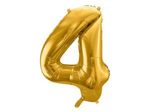 XXL Folien Ballon in Form der Zahl 4 Gold 86 cm – Bild 1