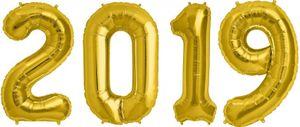 [Paket] Folien Ballon Zahl 2019 in Gold - XXL Riesenzahl 86 cm zum Silvester, Neujahr, Jahreszahl