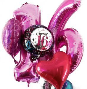 [Paket] Folien Ballon Zahl 18 in Silber - XXL Riesenzahl 86 cm zum 18. Geburtstag in Silber