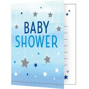 8 Einladungskarten zum Babyshower blinke kleiner Stern in Blau