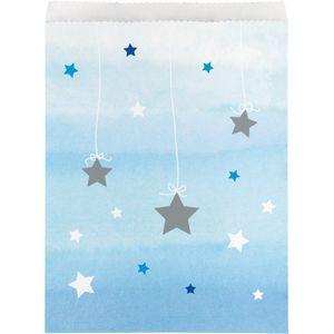 10 Papier Tütchen blinke kleiner Stern in Blau