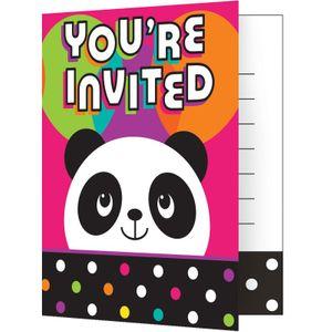 8 Einladungskarten Pink Panda Bär – Bild 1