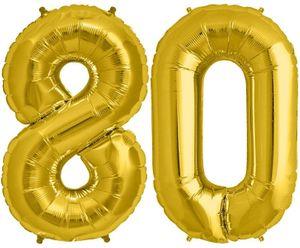 Folien Ballon Zahl 80 in Gold - XXL Riesenzahl 86 cm zum 80. Geburtstag in Gold - Jumbo