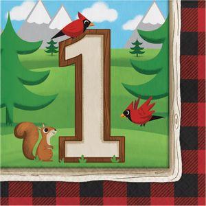 16 Servietten Holzfäll-Bär zum 1. Geburtstag