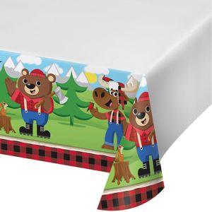 Wald Tiere Tischdecke Holzfäll-Bär