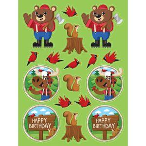 4 Wald Tiere Stickerbogen Holzfäll-Bär