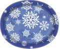 8 große ovale Papp Teller Schneeflocken