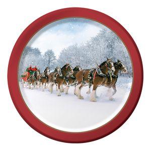 8 kleine Teller Pferdekutsche im Schnee