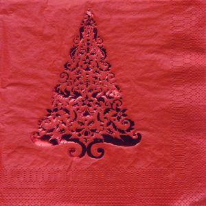 16 edle kleine Stanz Servietten mit Tannenbaum in Rot