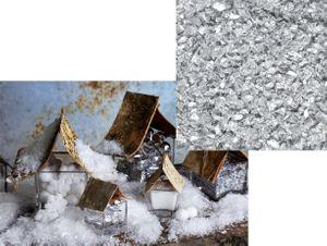 Weißer Deko Schnee mit Silber Glitzer