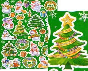 Glitzer Sticker Bogen Weihnachtsmotive grün