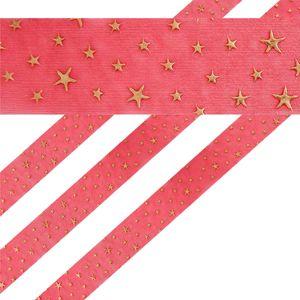 Geschenkband in Rot mit goldenen Sternen 4 cm breit 2 Meter lang