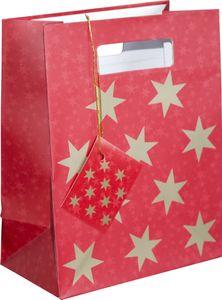 Geschenktüte mit Henkel in Rot mit goldenen Sternen