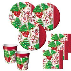 48 tlg. Weihnachtsgebäck Partygeschirr für 16 Personen zur Adventsfeier