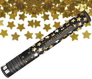 [Paket] 2 x Konfetti Kanone Goldene STERNE 40 cm  - Konfetti Shooter Streamer - für Silvester, Hochzeit, Party, Geburtstag