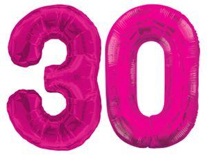 Folien Ballon Zahl 30 in Pink - XXL Riesenzahl 86 cm zum 30. Geburtstag in Pink