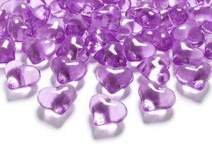 30 Deko Plastik Kristall Herzen lila - 21 mm Durchmesser