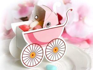 10 Karton Boxen in Kinderwagen Form rosa für die Tischdeko, Gastgeschenke