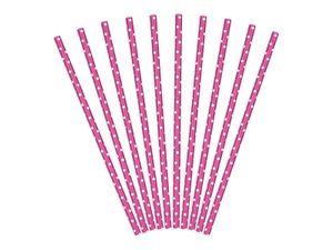 10 Papier Trinkhalme pink weiß gepunktet