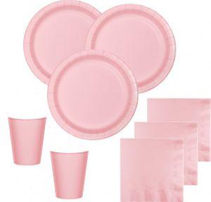 XXL 102 Teile Party Deko Set Pastell Rosa für 16 Personen – Bild 2