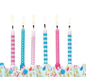 6 Kuchen Kerzen Rosa und Blau Mix