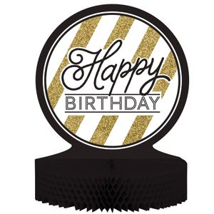 Tischaufsteller Happy Birthday Geburtstag Black and Gold
