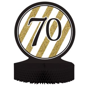 Tischaufsteller 70. Geburtstag Black and Gold